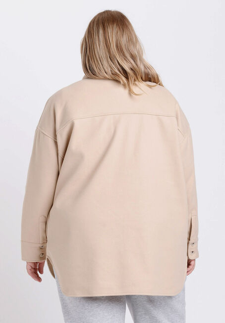 Women's Button Front Shacket, OATMEAL, hi-res