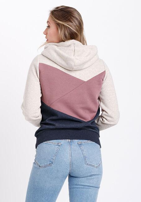 Women's Colour Block Popover Hoodie, PEONY PINK, hi-res