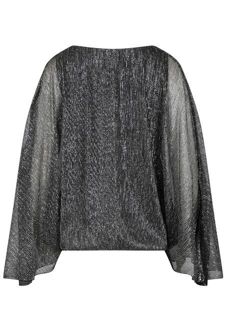 Women's Angel Sleeve Shimmer Top, BLACK/SILVER, hi-res
