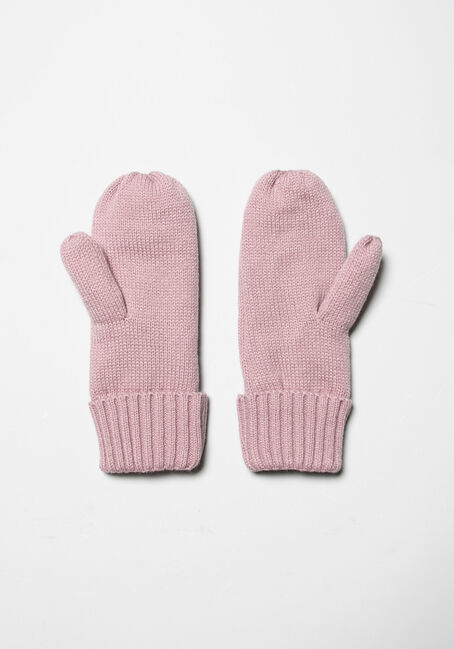 Women's Knit Mittens, PINK, hi-res