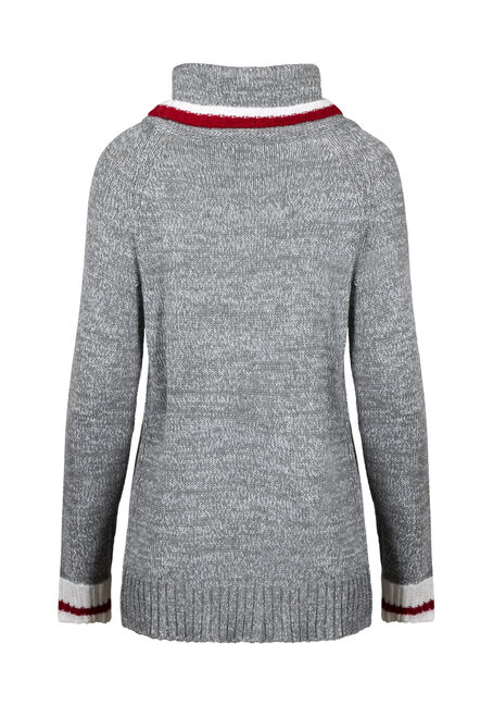 Women's Cowl Neck Cabin Sweater, HEATHER GREY, hi-res