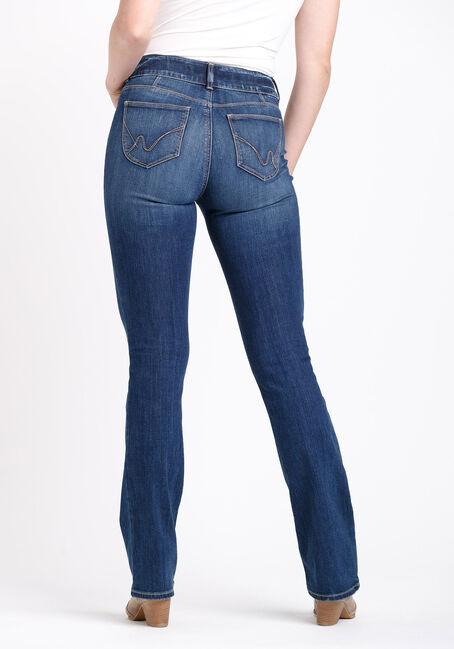 Women's 2 Button Destroyed Baby Boot Jeans, DARK WASH, hi-res