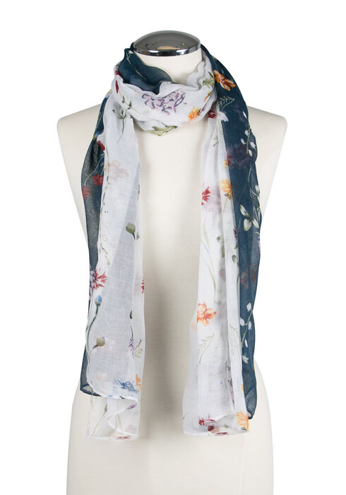 Ladies' Wild Flower Oblong Scarf, NAVY, hi-res