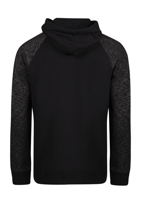 Men's Colour Block Popover Hoodie, BLACK, hi-res