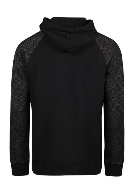 Men's Colour Block Popover Hoodie, BLACK, hi-res