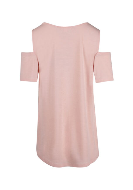 Ladies' Elephant Cold Shoulder Top, ROSE QUARTZ, hi-res