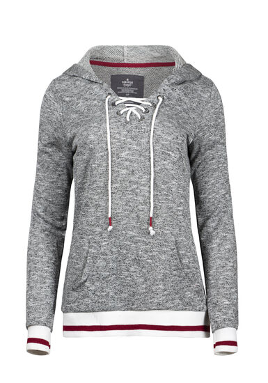 Women's Lace Up Cabin Hoodie, HEATHER GREY, hi-res