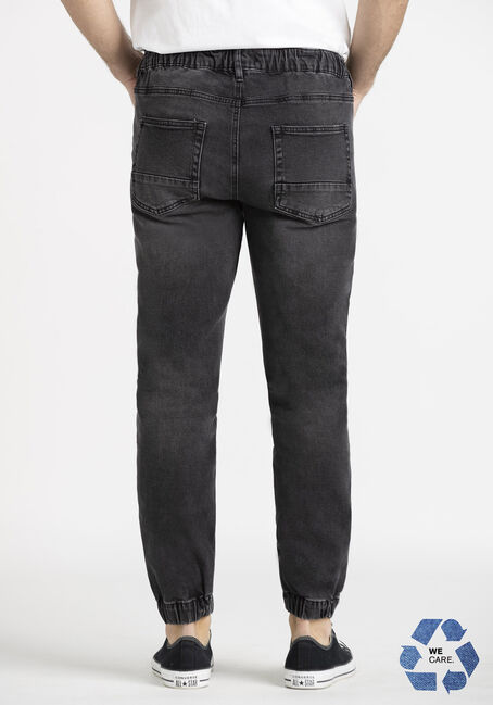 Men's Washed Black Denim Jogger, BLACK, hi-res
