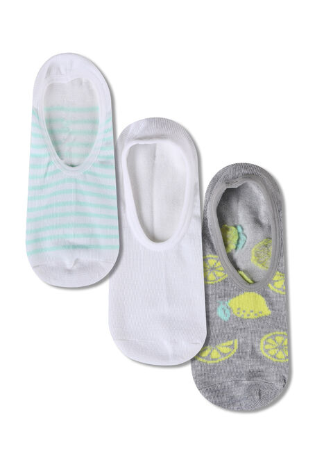 Women's 3 Pair Lemon Sneaker Socks