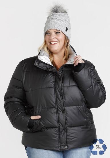 Women's PLUS Puffer Jacket, BLACK, hi-res