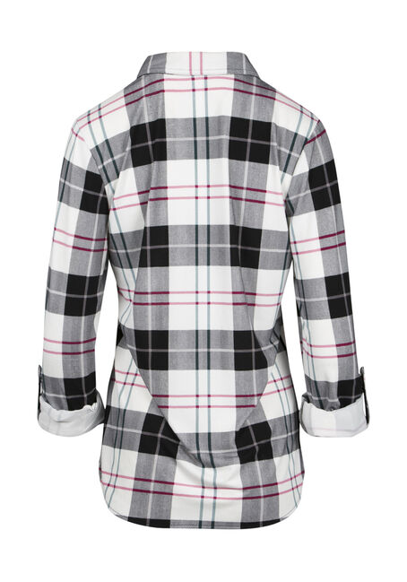 Ladies' Relaxed Fit Knit Plaid Shirt, BLK/WHT, hi-res