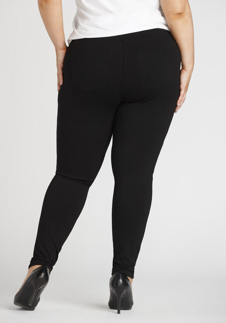 Ladies' Plus Pull On Skinny Pants, BLACK, hi-res