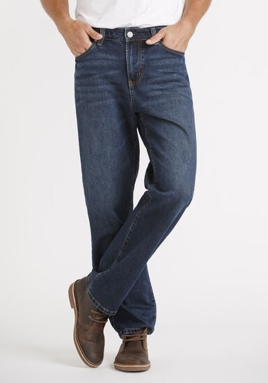 Men's Indigo Relaxed Straight Jeans, DARK WASH, hi-res