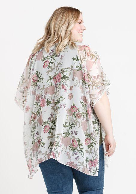 Women's Floral Print Wrap, WHITE, hi-res