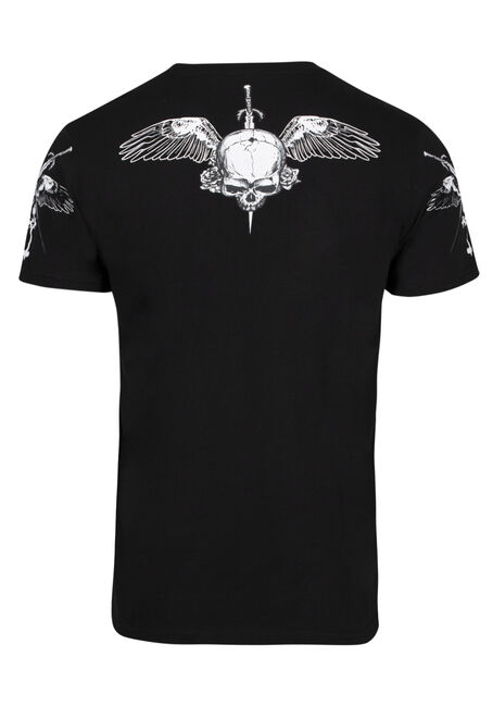 Men's Flocked Skull Tee, BLACK, hi-res