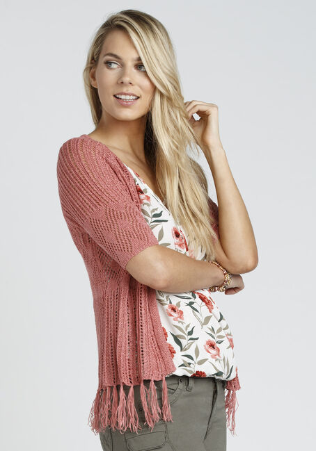 Ladies' Pointelle Fringe Cardigan, LIGHT CORAL, hi-res