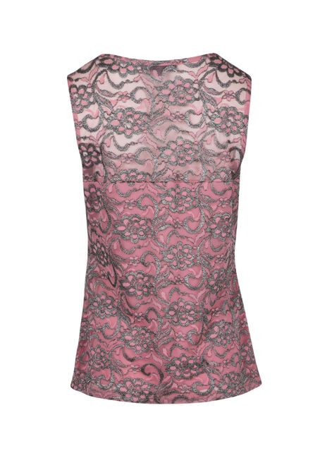 Ladies' Shimmer Lace Up Tank, TICKLED PINK, hi-res