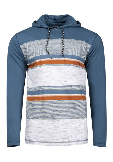 Men's Colour Block Stripe Hooded Tee