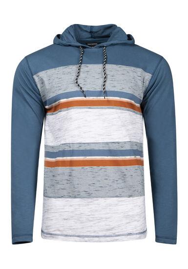 Men's Colour Block Stripe Hooded Tee, LAKE BLUE, hi-res