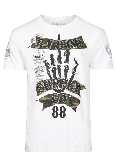 Men's Skeleton Camo Tee, WHITE, hi-res