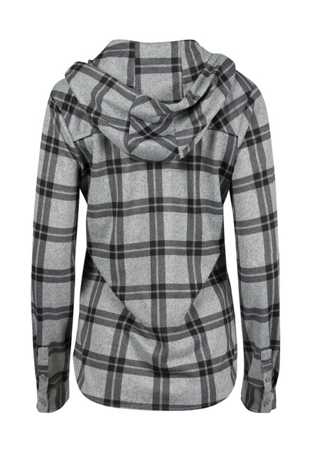 Women's Hooded Knit Plaid Shirt, TICKLED PINK, hi-res