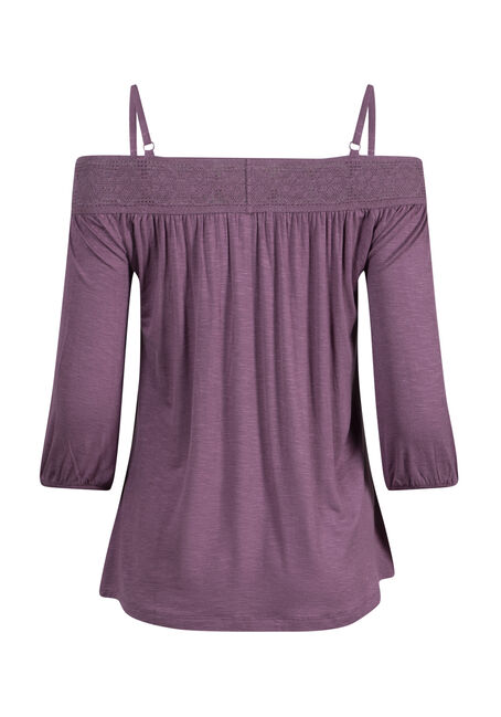 Women's Button Front Off Shoulder Top, ORCHID, hi-res