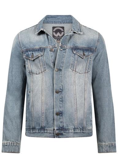 Men's Vintage Wash Denim Jacket, DENIM, hi-res