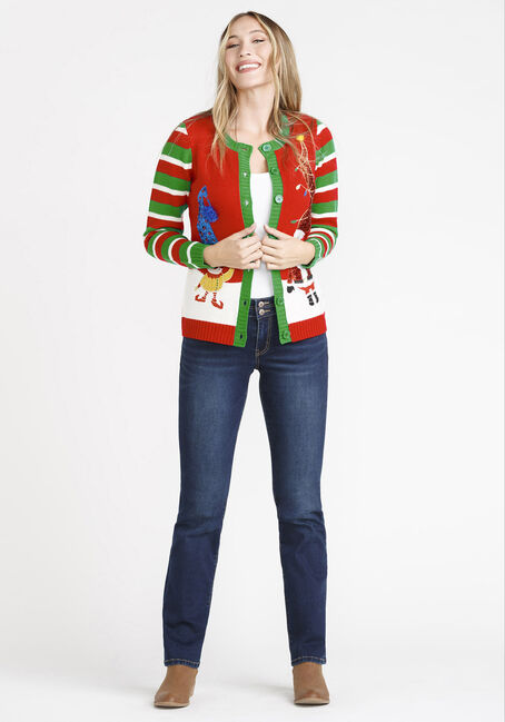 Women's Elf Cardigan, RIBBON RED, hi-res