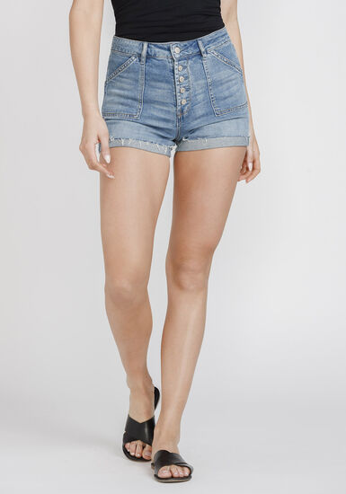 Women's Exposed Button High Rise Cuffed Short, MEDIUM WASH, hi-res