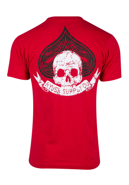Men's Skull Spade Tee, RED, hi-res