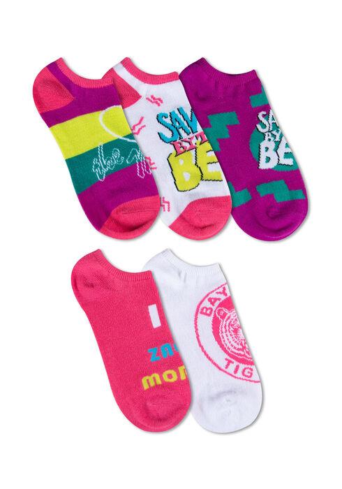 Ladies' 5 Pair Saved By The Bell Socks, BRIGHT PINK, hi-res