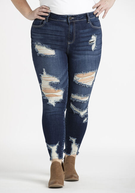 Women's Plus Heavy Destroyed Crop Skinny Jeans