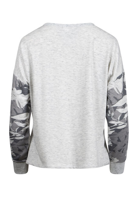 Women's Floral Sleeve Sweatshirt, HEATHER GREY, hi-res