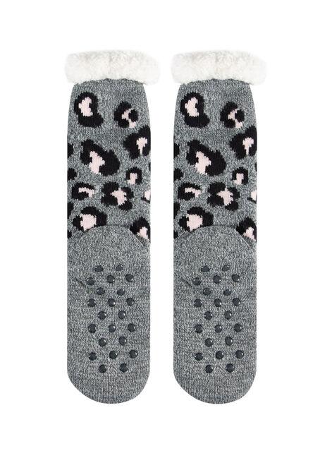Women's Leopard Print Slipper Socks, CHARCOAL, hi-res