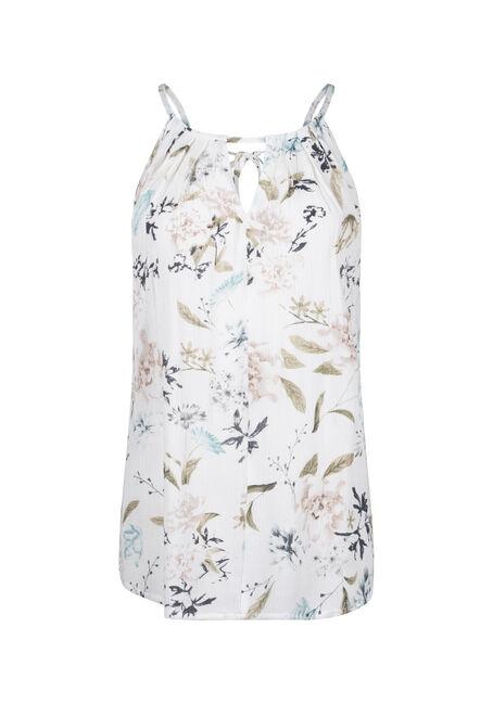 Women's Floral Halter Neck Crinkle Tank