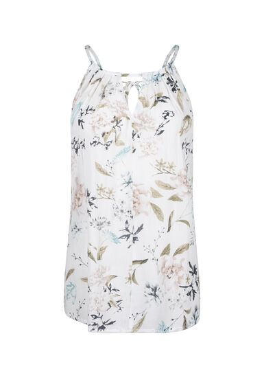 Women's Floral Halter Neck Crinkle Tank, WINTER WHITE, hi-res