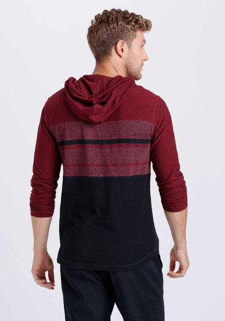 Men's Everyday Hooded Stripe Tee, TRUE WINE, hi-res