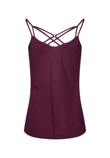 Women's Cage Neck Tank, BURGUNDY, hi-res