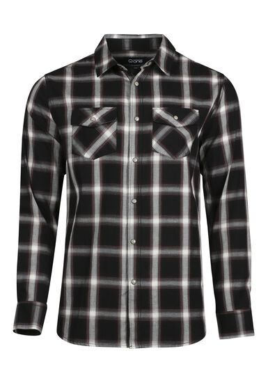 Men's Relaxed Shadow Plaid Shirt, FIG, hi-res