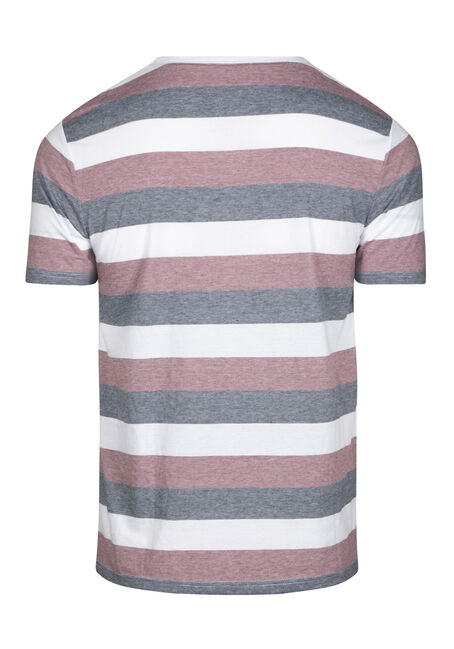 Men's Everyday Striped Crew Neck Tee, BURGUNDY, hi-res