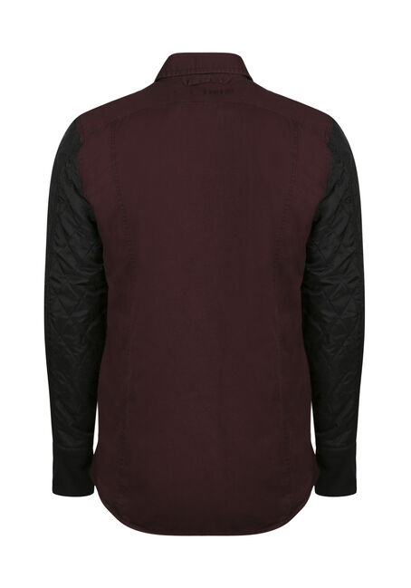 Men's Quilted Sleeve Shirt Jacket, DARK BURGUNDY, hi-res