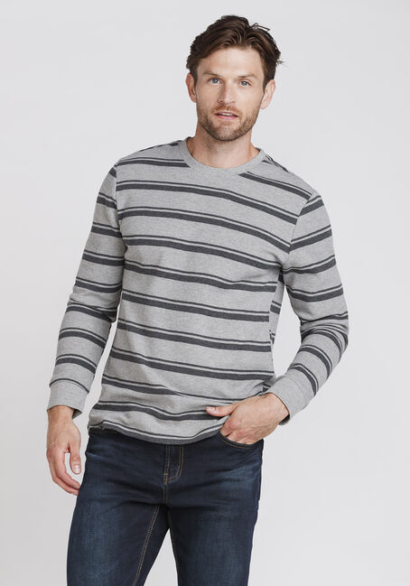 Men's Everday Striped Waffle Tee, LIGHT GREY, hi-res