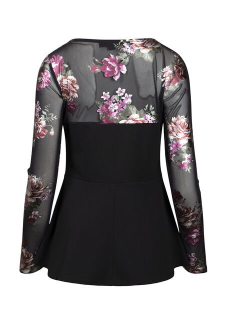 Women's Floral Peplum Top, BLACK, hi-res