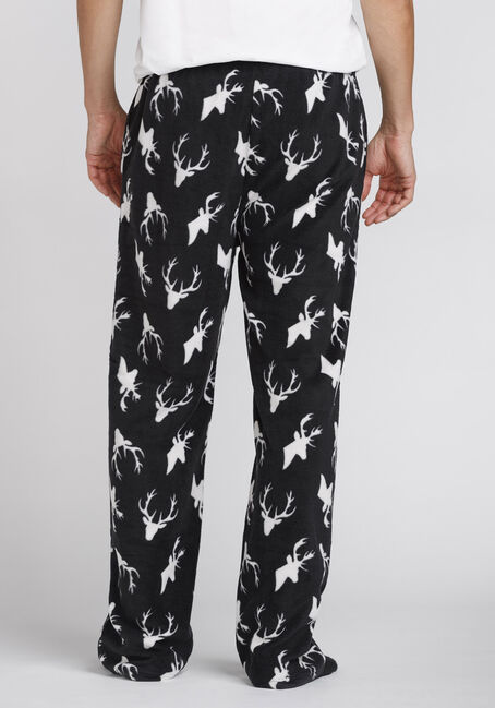 Men's Reindeer Fleece Sleep Pant, BLK/WHT, hi-res