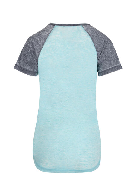 Ladies' Burnout Baseball Tee, AQUA/NAVY, hi-res