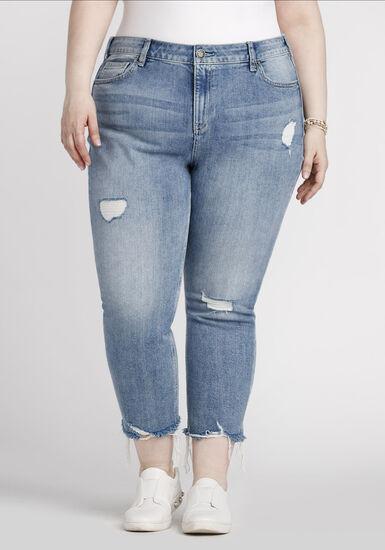 Women's Plus Size Raw Hem Straight Crop Jeans, MEDIUM WASH, hi-res