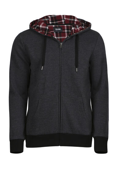 Men's Flannel Lined Hoodie, CHARCOAL, hi-res