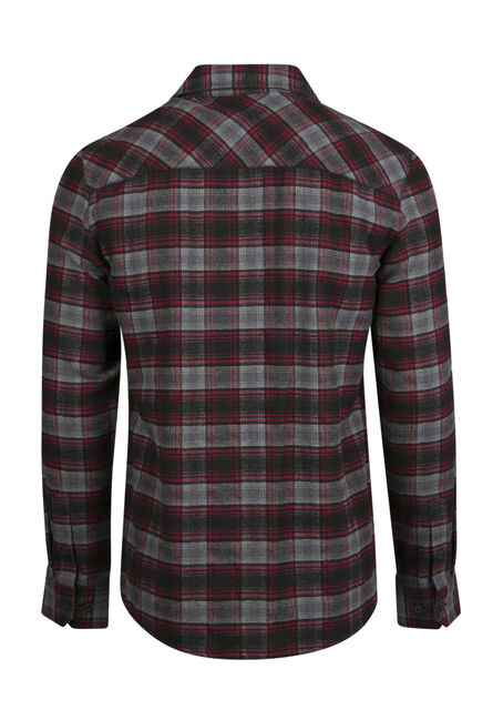 Men's Relaxed Flannel Shirt, RED, hi-res