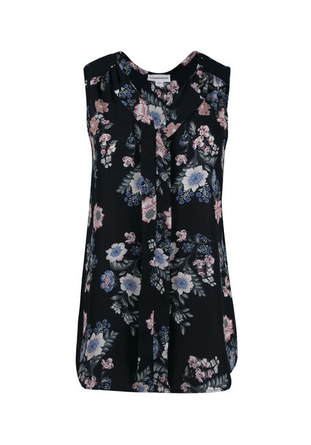 Women's Floral Pleat Front Tank