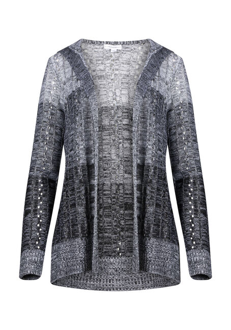 Women's Ombre Pointelle Hooded Cardigan
